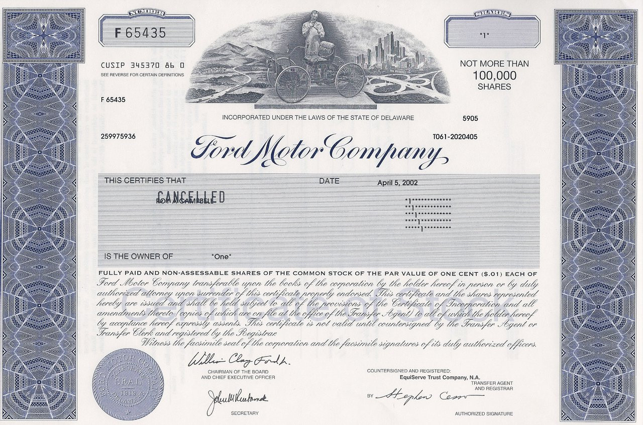 ford motor company stock certificate unissued. Cars Review. Best American Auto & Cars Review