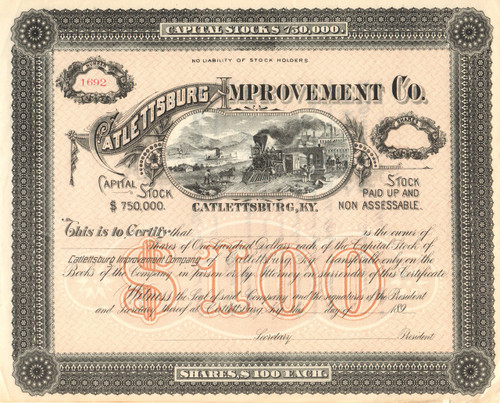 Catlettsburg Improvement Company stock certificate 1890's (Kentucky)