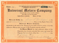 Universal Motors Company stock certificate 1916 (North Carolina)