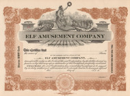 Elf Amusement Company stock certificate circa 1911 (New York)