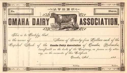 Omaha Dairy Association stock certificate circa 1885 (Nebraska)