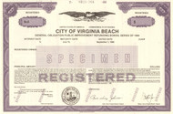 City of Virginia Beach  bond certificate specimen 1986