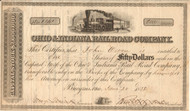 Ohio and Indiana Railroad Company stock certificate 1856