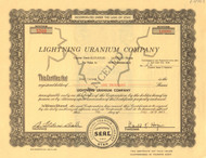 Lightning Uranium Company stock certificate (Utah)