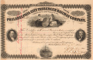 Philadelphia City Passenger Railway Company stock certificate 1874