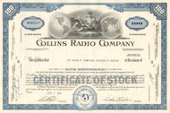 Collins Radio Company stock certificate 1960's (space race communications) - blue