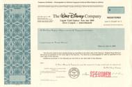 Walt Disney Company bond certificate specimen 1990