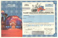 Planet Hollywood International stock certificate 1999