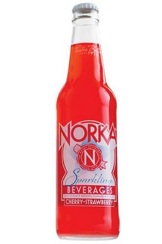 NORKA Cherry-Strawberry Soda in 12 oz glass bottles from SummitCitySoda.com