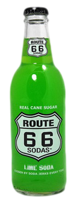 Route 66 Lime Soda in 12 oz. glass bottles for Sale