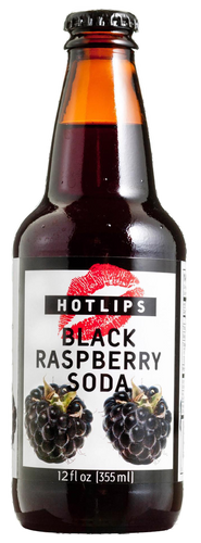 Hotlips Black Raspberry Soda in 12 oz. glass bottles for Sale
