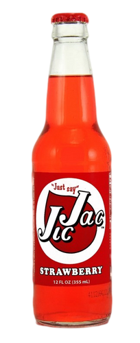 Jic Jac Strawberry Soda in 12 oz. glass bottles for Sale