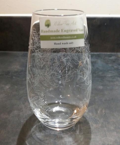 Medium Peony Engraved Vase