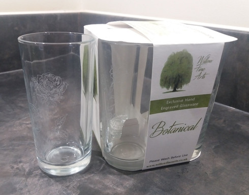 Set of 4 Botanical Engraved Glasses