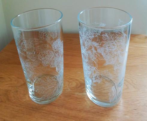 Engraved beer glasses