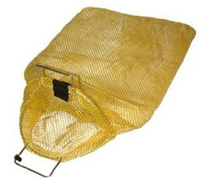 "Mesh Collection bag with Galvanized Wire Handles-- Yellow 18"" x 30"""
