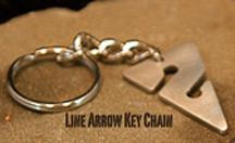 Line Arrow Key Chain, Pewter
