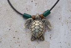Sea Turtle Necklace - Antique Brass