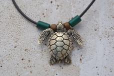 Sea Turtle Necklace - Antique Brass
