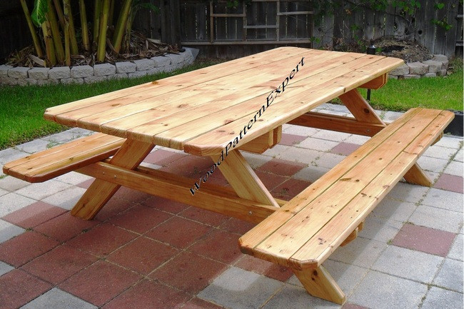 Picnic table family size park style standard 7 with for Get table th width