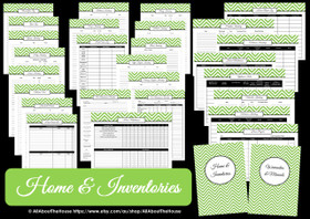 GREEN EDITABLE Home & Inventories - Instant Download
