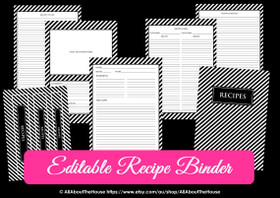 EDITABLE Recipe Binder Printables - Black Stripe - INSTANT DOWNLOAD
