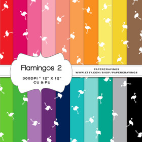 "Flamingo 2 Digital Paper Pack 12"" x 12"" (20 colors) - INSTANT DOWNLOAD"