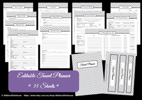 BLACK - Travel Planner - EDITABLE - Instant Download
