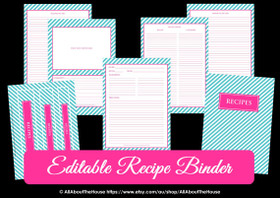 EDITABLE Recipe Binder Printables - Blue Stripe & Pink - INSTANT DOWNLOAD