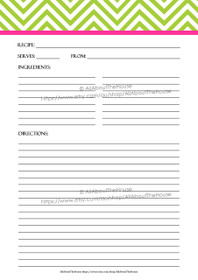 EDITABLE - Printable Chevron Recipe Card Sheet - g2, 10 - INSTANT DOWNLOAD