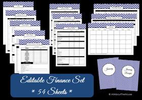 EDITABLE DARK BLUE Finance Set - Instant Download