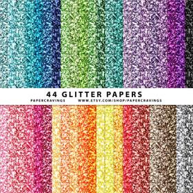 "Glitter Digital Paper Pack 12"" x 12"" (44 colors) INSTANT DOWNLOAD"