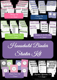 BLACK - Household Binder Starter Set - Instant Download