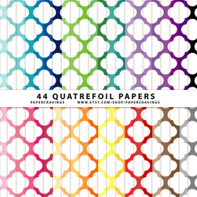 "Quatrefoil 4 Digital Paper Pack 12"" x 12"" (44 colors) INSTANT DOWNLOAD"