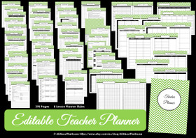 GREEN - EDITABLE - Teacher Planner - Instant Download