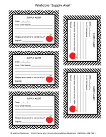FREE Supply Alert Cards - Teacher Printable