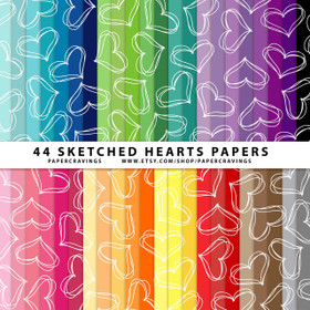 "Sketched Hearts Digital Paper Pack 12"" x 12"" (44 colors) INSTANT DOWNLOAD"