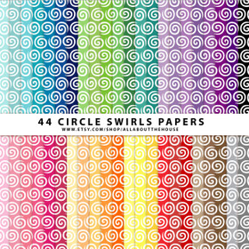 "Circle Swirl Digital Paper Pack 12"" x 12"" (44 colors) INSTANT DOWNLOAD"