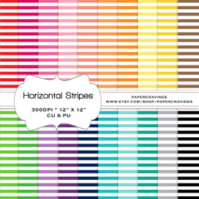 "Horizontal Stripes - Basics Digital Paper Pack 12"" x 12"" (20 colors) - INSTANT DOWNLOAD"