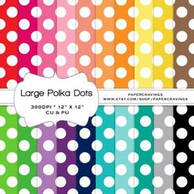 """Large Polka Dot Basics - Digital Paper Pack 12"""" x 12"""" (20 colors) - INSTANT DOWNLOAD"""
