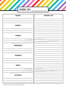 Meal Planning - Rainbow Planner Add On - EDITABLE - Instant Download