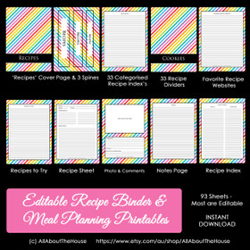 EDITABLE - Rainbow Stripe Recipe Binder & Meal Planning Printables - INSTANT DOWNLOAD