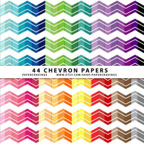 "Chevron 105 Digital Paper Pack 12"" x 12"" (44 colors) INSTANT DOWNLOAD"