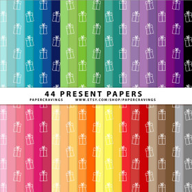 """Christmas Presents Digital Paper Pack 12"""" x 12"""" (44 colors) INSTANT DOWNLOAD"""