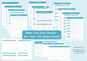 BLACK Perpetual Planner - Printable - Product Number 437 - INSTANT DOWNLOAD
