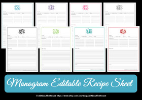 EDITABLE - Monogram Recipe Sheet