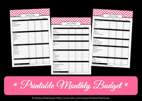 PINK Monthly Budget - EDITABLE - Instant Download