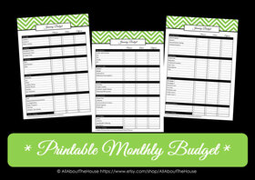 GREEN Monthly Budget - EDITABLE - Instant Download