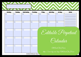 EDITABLE Perpetual Calendar - Style 2 - Green 3 - INSTANT DOWNLOAD