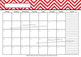 EDITABLE Perpetual Calendar - Style 2 - Red 1 - INSTANT DOWNLOAD